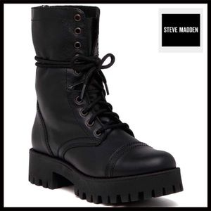 STEVE MADDEN BLACK LEATHER COMBAT ANKLE BOOTS